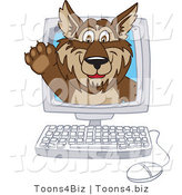 February 12nd, 2012: Vector Illustration of a Cartoon Wolf Mascot Waving on a Computer Screen by Toons4Biz