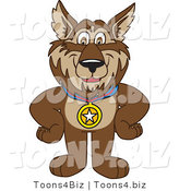 Vector Illustration of a Cartoon Wolf Mascot Wearing a Medal by Toons4Biz