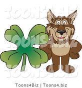 February 12nd, 2012: Vector Illustration of a Cartoon Wolf Mascot with a Four Leaf Clover by Toons4Biz