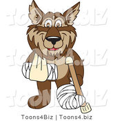 Vector Illustration of a Cartoon Wolf Mascot with a Sling, Cast and Crutch by Toons4Biz