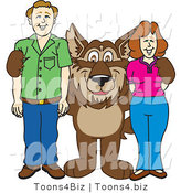 Vector Illustration of a Cartoon Wolf Mascot with Adults by Toons4Biz