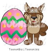 Vector Illustration of a Cartoon Wolf Mascot with an Easter Egg by Toons4Biz