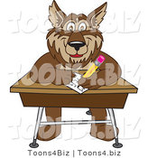 Vector Illustration of a Cartoon Wolf Mascot Writing on a Desk by Toons4Biz
