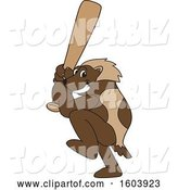 Vector Illustration of a Cartoon Wolverine Mascot Batting by Toons4Biz