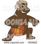 Vector Illustration of a Cartoon Wolverine Mascot Dribbling a Basketball by Toons4Biz