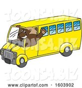 Vector Illustration of a Cartoon Wolverine Mascot Driving a School Bus by Toons4Biz