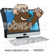 Vector Illustration of a Cartoon Wolverine Mascot Emerging from a Computer Screen by Toons4Biz