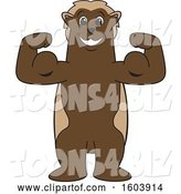 Vector Illustration of a Cartoon Wolverine Mascot Flexing His Muscles by Toons4Biz