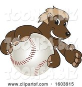 Vector Illustration of a Cartoon Wolverine Mascot Grabbing a Baseball by Toons4Biz