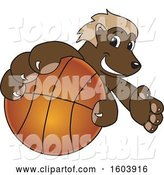Vector Illustration of a Cartoon Wolverine Mascot Grabbing a Basketball by Toons4Biz