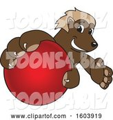 Vector Illustration of a Cartoon Wolverine Mascot Grabbing a Cricket Ball by Toons4Biz