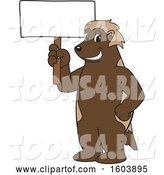 Vector Illustration of a Cartoon Wolverine Mascot Holding a Blank Sign by Toons4Biz