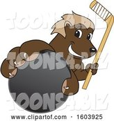 Vector Illustration of a Cartoon Wolverine Mascot Holding a Hockey Puck and Stick by Toons4Biz