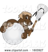 Vector Illustration of a Cartoon Wolverine Mascot Holding a Lacrosse Stick and Ball by Toons4Biz