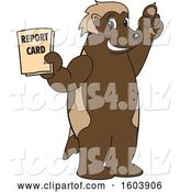 Vector Illustration of a Cartoon Wolverine Mascot Holding a Report Card by Toons4Biz