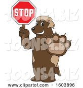 Vector Illustration of a Cartoon Wolverine Mascot Holding a Stop Sign by Toons4Biz