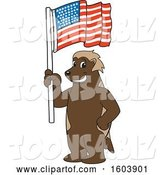 Vector Illustration of a Cartoon Wolverine Mascot Holding an American Flag by Toons4Biz