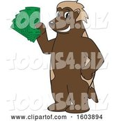 Vector Illustration of a Cartoon Wolverine Mascot Holding Cash Money by Toons4Biz