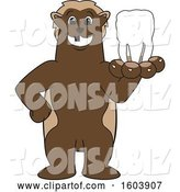 Vector Illustration of a Cartoon Wolverine Mascot Holding out a Tooth by Toons4Biz