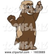 Vector Illustration of a Cartoon Wolverine Mascot Holding up a Finger by Toons4Biz