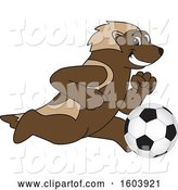 Vector Illustration of a Cartoon Wolverine Mascot Playing Soccer by Toons4Biz