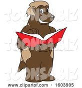Vector Illustration of a Cartoon Wolverine Mascot Reading a Book by Toons4Biz