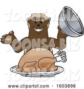 Vector Illustration of a Cartoon Wolverine Mascot Serving a Thanksgiving Turkey by Toons4Biz