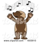 Vector Illustration of a Cartoon Wolverine Mascot Singing by Toons4Biz