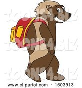 Vector Illustration of a Cartoon Wolverine Mascot Wearing a Backpack by Toons4Biz