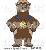 Vector Illustration of a Cartoon Wolverine Mascot Wearing a Sports Medal by Toons4Biz