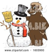 Vector Illustration of a Cartoon Wolverine Mascot with a Christmas Snowman by Toons4Biz