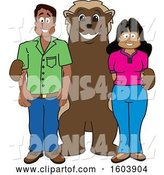 Vector Illustration of a Cartoon Wolverine Mascot with Parents by Toons4Biz