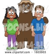 Vector Illustration of a Cartoon Wolverine Mascot with Students by Toons4Biz