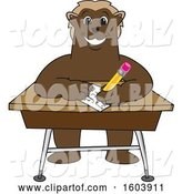 Vector Illustration of a Cartoon Wolverine Mascot Writing at a Desk by Toons4Biz