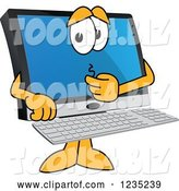 Vector Illustration of a Cartoon Worried PC Computer Mascot by Toons4Biz
