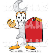 Vector Illustration of a Cartoon Wrench Mascot Holding a Red Sales Price Tag by Toons4Biz