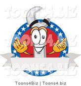 Vector Illustration of a Cartoon Wrench Mascot over a Blank White Banner on an American Themed Business Logo by Toons4Biz