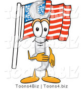 Vector Illustration of a Cartoon Wrench Mascot Pledging Allegiance to an American Flag by Toons4Biz