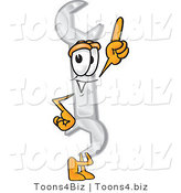 Vector Illustration of a Cartoon Wrench Mascot Pointing Upwards by Toons4Biz