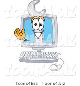 Vector Illustration of a Cartoon Wrench Mascot Waving from Inside a Computer Screen by Toons4Biz