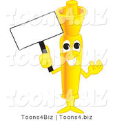 Vector Illustration of a Cartoon Yellow Highlighter Mascot Holding a Blank Sign by Toons4Biz