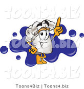 Vector Illustration of a Chef Hat Mascot Logo with a Blue Paint Splatter by Toons4Biz