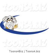 Vector Illustration of a Chef Hat Mascot on an Employee Name Tag with a Blue Dash by Toons4Biz