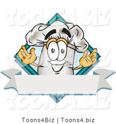 Vector Illustration of a Chef Hat Mascot over a Blank Banner by Toons4Biz