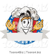 Vector Illustration of a Chef Hat Mascot over a Blank Banner Label with Stars by Toons4Biz
