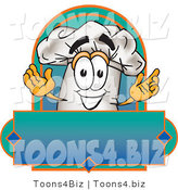 Vector Illustration of a Chef Hat Mascot over a Blank Label by Toons4Biz