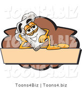 Vector Illustration of a Chef Hat Mascot Resting over a Blank Brown Label by Toons4Biz