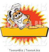 Vector Illustration of a Chef Hat Mascot Resting over a Blank Yellow Label by Toons4Biz