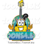 Vector Illustration of a Clipart Picture of a Guitar Mascot by Toons4Biz