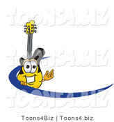 Vector Illustration of a Clipart Picture of a Guitar Mascot Logo with a Blue Dash by Toons4Biz
